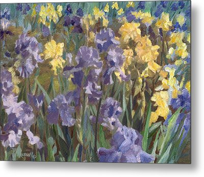 Irises Flowers Field Original Painting Metal Print by K Joann Russell