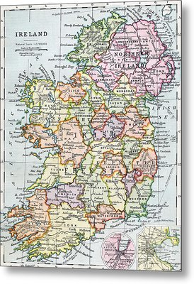 Irish Free State And Northern Ireland From Bacon S Excelsior Atlas Of The World Metal Print by English School
