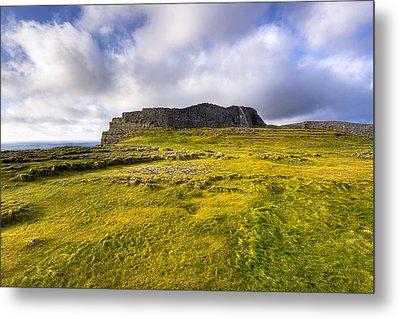 Iron Age Ruins Of Dun Aengus On The Irish Coast Metal Print by Mark E Tisdale