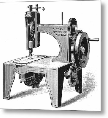 Isaac Singer's First Sewing Machine Metal Print by Universal History Archive/uig