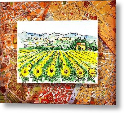 Italy Sketches Sunflowers Of Tuscany Metal Print by Irina Sztukowski