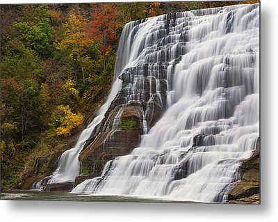 Ithaca Falls In Autumn Metal Print by Michele Steffey