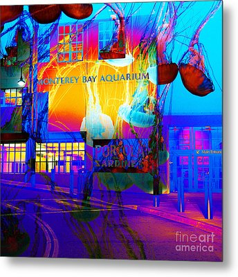 Its Raining Jelly Fish At The Monterey Bay Aquarium 5d25177 Square Metal Print by Wingsdomain Art and Photography