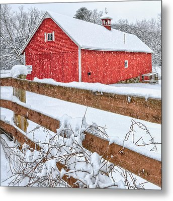It's Snowing Square Metal Print by Bill Wakeley