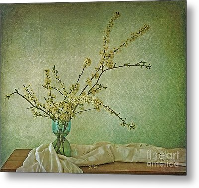 Ivory And Turquoise Metal Print by Priska Wettstein