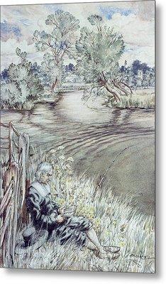 Izaak Walton Reclining Against A Fence Metal Print by Arthur Rackham