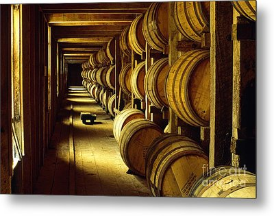 Jack Daniel Whiskey Maturing In Barrels In Old Warehouse At The Lynchburg Distillery Tennessee Usa Metal Print by David Lyons