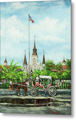 Jackson Square Carriage Metal Print by Dianne Parks