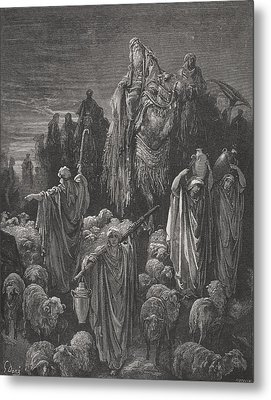 Jacob Goeth Into Egypt Metal Print by Gustave Dore
