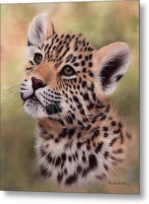 Jaguar Cub Painting Metal Print by Rachel Stribbling