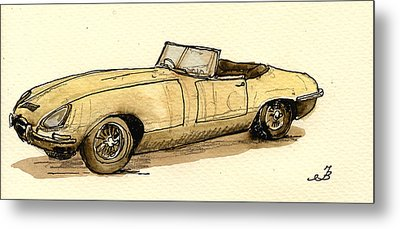 Jaguar E Type Cabrio Metal Print by Juan  Bosco
