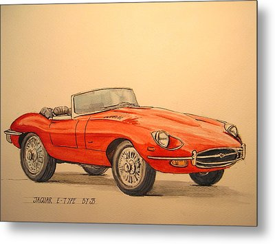 Jaguar E Type Metal Print by Juan  Bosco