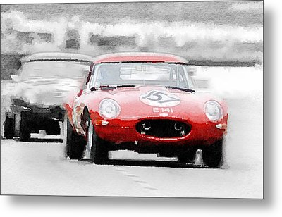 Jaguar E-type Racing Watercolor Metal Print by Naxart Studio