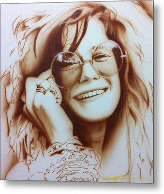 Janis Joplin - ' Janis ' Metal Print by Christian Chapman Art