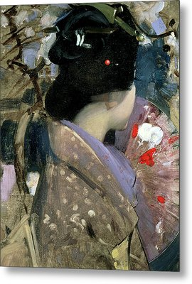 Japanese Lady With A Fan Metal Print by George F Henry