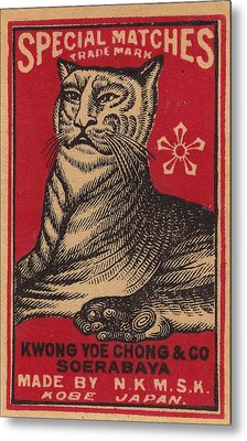 Japanese Matchbox Label With Tiger Metal Print by Nop Briex