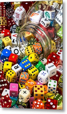 Jar Of Colorful Dice Metal Print by Garry Gay