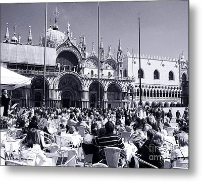 Jazz In Piazza San Marco Black And White  Metal Print by Ramona Matei