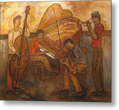 Jazz Quartet Metal Print by Anita Burgermeister