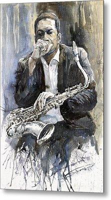 Jazz Saxophonist John Coltrane Yellow Metal Print by Yuriy  Shevchuk