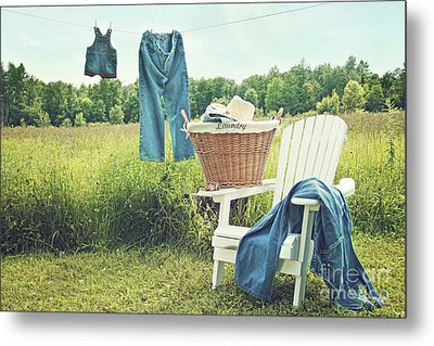 Jeans Hanging On Clothesline On A Summer Afternoon Metal Print by Sandra Cunningham