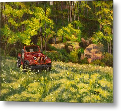 Jeep By The Bluff Metal Print by Janet Felts