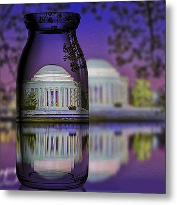 Jefferson Memorial In A Bottle Metal Print by Susan Candelario