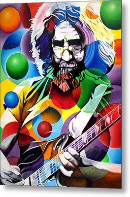 Jerry Garcia In Bubbles Metal Print by Joshua Morton