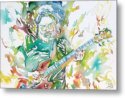 Jerry Garcia Playing The Guitar Watercolor Portrait.1 Metal Print by Fabrizio Cassetta