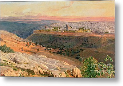 Jerusalem From The Mount Of Olives Metal Print by Edward Lear