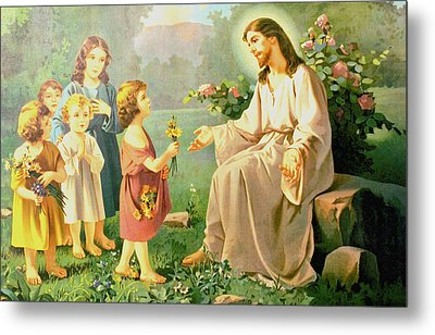 Jesus And The Little Children Metal Print by Unknown