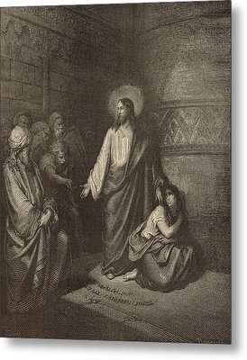 Jesus And The Woman Taken Into Adultery Metal Print by Antique Engravings