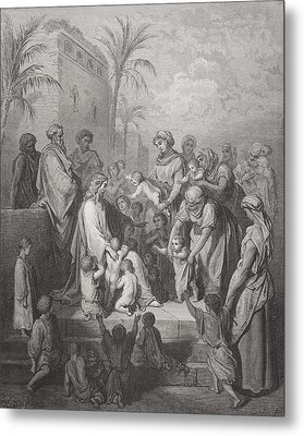 Jesus Blessing The Children Metal Print by Gustave Dore