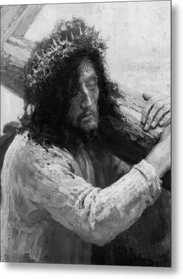 Jesus Carrying The Cross Circa 1898  Metal Print by Aged Pixel