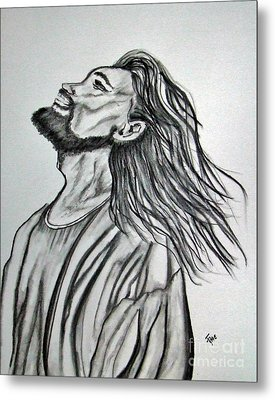 Jesus Christ In Graphite Metal Print by Janice Rae Pariza