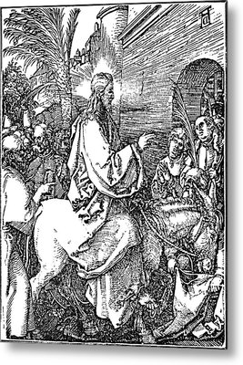 Jesus On The Donkey Palm Sunday Etching Metal Print by
