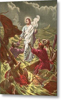 Jesus Walking On The Water Metal Print by Anonymous