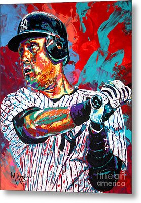 Jeter At Bat Metal Print by Maria Arango