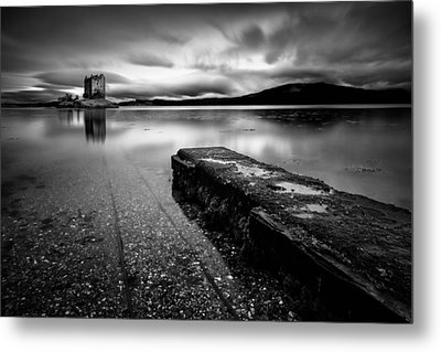 Jetty To Castle Stalker Metal Print by Dave Bowman