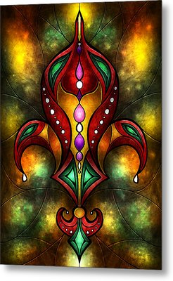 Jeweled Fleur De Lis Metal Print by Mandie Manzano