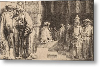 Jews In The Synagogue Metal Print by Rembrandt