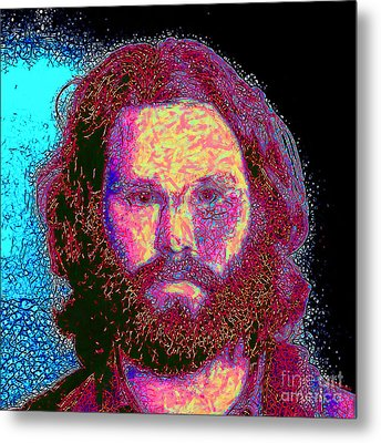 Jim Morrison 20130329 Square Metal Print by Wingsdomain Art and Photography