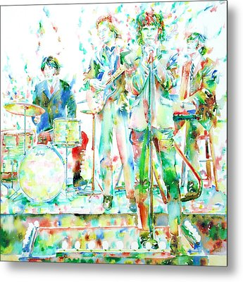 Jim Morrison And The Doors Live On Stage- Watercolor Portrait Metal Print by Fabrizio Cassetta