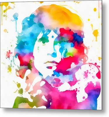 Jim Morrison Paint Splatter Metal Print by Dan Sproul