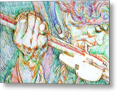 Jimi And His Guitar Metal Print by Fabrizio Cassetta