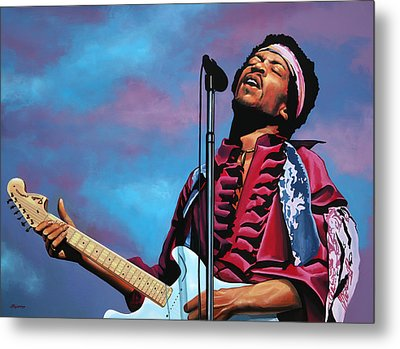 Jimi Hendrix Painting 2 Metal Print by Paul Meijering