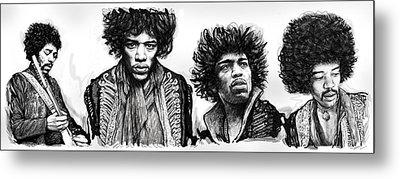 Jimi Hendrix Art Drawing Sketch Poster  Metal Print by Kim Wang