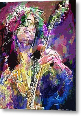 Jimmy Page Electric Metal Print by David Lloyd Glover