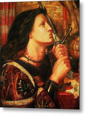 Joan Of Arc Kissing The Sword Metal Print by Dante Gabriel Charles Rossetti
