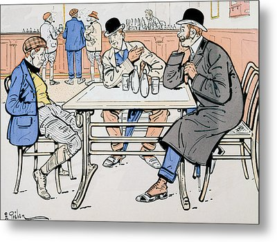 Jockey And Trainers In The Bar Metal Print by Thelem